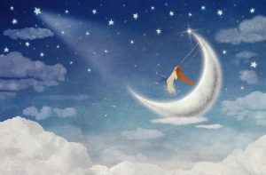 Fairy riding on a swing on the moon