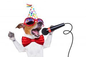 happy new year dog singing